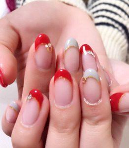 赤×グレー シンプルフレンチ